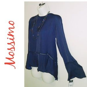Mossimo High Low Deep Blue Bell Sleeve Top-NWT